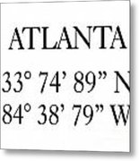 Atlanta Coordinates Metal Print