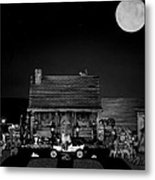 B/w Log Cabin And Outhouse Scene With The Classic Old Vintage 1908 Model T Ford Metal Print