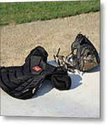 Baseball Glove And Chest Protector Metal Print