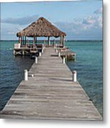 Beach Deck With Palapa Floating In The Water Metal Print