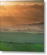 Beautiful English Countryside Landscape Over Rolling Hills Metal Print