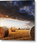 Beautiful Golden Hour Hay Bales Sunset Landscape Metal Print by Matthew Gibson