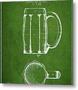 Beer Mug Patent From 1876 - Green Metal Print