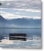 Bench With Trees On A Flooding Alpine Lake Metal Print