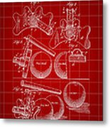 Billiard Bridge Patent 1910 - Red Metal Print