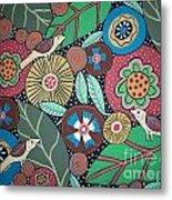 3 Bird Botanical Metal Print
