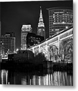 Black And White Cleveland Iconic Scene Metal Print