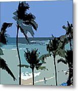 Blue Beach Umbrellas Metal Print