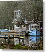 3 Blue Boats Metal Print