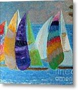 Boats At Sunset 1 Metal Print