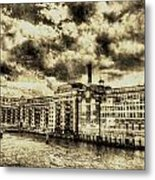 Butlers Wharf London Vintage Metal Print