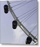 3 Capsules Of The Singapore Flyer Along With The Spokes And Base Metal Print