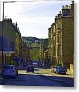 Car In A Queue Waiting For A Signal In Edinburgh Metal Print