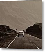 Cars And Other Vehicles On A Road In The Scottish Highlands Metal Print
