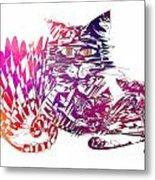 3 Cats Purple Metal Print