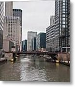 Chicago Skyline And Streets Metal Print