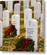 Christmas Wreaths Laid At The Arlington Cemetery Metal Print