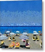 Beach At The City Of Rhodes Metal Print