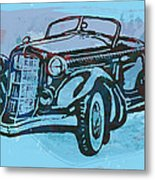 Classical Car Stylized Pop Art Poster Metal Print