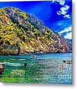 Cliffside Coastline On Corfu Metal Print
