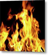 Close-up Of Fire Flames Metal Print