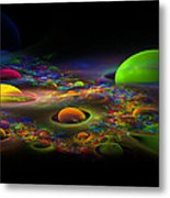 Computer Generated Spheres Abstract Fractal Flame Art Metal Print