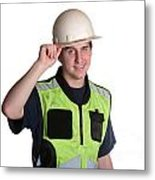 Construction Worker In Safety Jacket Metal Print