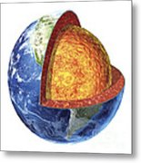 Cross Section Of Planet Earth Showing Metal Print
