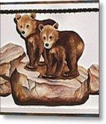 3-d Bearizona Bear Babies Metal Print