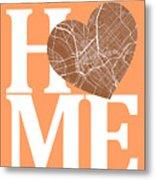 Dallas Street Map Home Heart - Dallas Texas Road Map In A Heart Metal Print