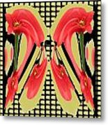 Dancing Tulip Red Exotic Flower Petal Based Wave Pattern  Created By Navinjoshi Reiki Healing Master Metal Print