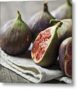 Delicious Figs On Wooden Background Metal Print
