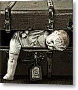 Doll In Suitcase Metal Print