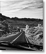 Driving Along The White Domes Road In Valley Of Fire State Park Nevada Usa Metal Print