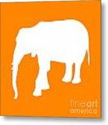 Elephant In Orange And White Metal Print