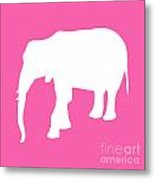 Elephant In Pink And White Metal Print