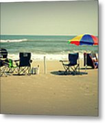 3 Empty Beach Chairs Metal Print