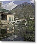 Fallen Tree In Water Pool Inside The Shalimar Garden In Srinagar Metal Print