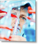 Female Chemist In Lab Metal Print