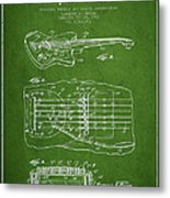 Fender Floating Tremolo Patent Drawing From 1961 - Green Metal Print