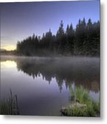 First Light At Trillium Lake With Reflection Metal Print