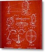 Folding School Globe Patent Drawing From 1887 Metal Print