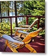 Forest Cottage Deck And Chairs Metal Print