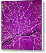 Frankfurt Street Map - Frankfurt Germany Road Map Art On Colored Metal Print