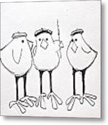 3 French Hens Drawing Metal Print