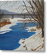 Geese On The Grand River Metal Print