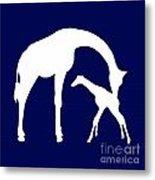Giraffe In Navy And White Metal Print