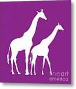 Giraffe In Purple And White Metal Print