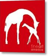 Giraffe In Red And White Metal Print