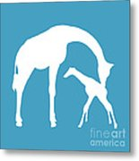 Giraffe In White And Turquoise Metal Print